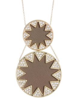 Leather & Crystal Sunburst Detail Double Pendant Necklace