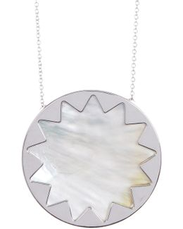 Imitation Pearl Detail Sunburst Pendant Necklace