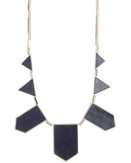 Leather Detail Station Necklace