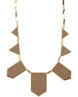 Leather Station Bib Necklace