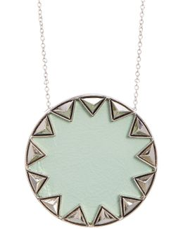 Pyramid Sunburst Leather Pendant Necklace