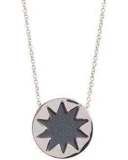 Mini Sunburst Leather Pendant Necklace