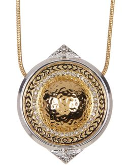 Engraved Round Pendant Mesh Chain Necklace