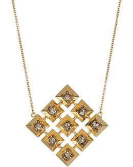 Embellished Grid Square Pendant Necklace