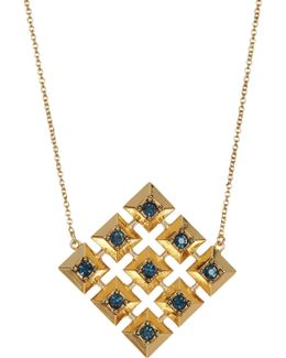 Blue Rhinestone Embellished Grid Square Pendant Necklace