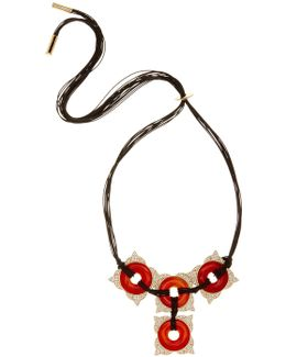 Carnelian Frontal Statement Cord Necklace