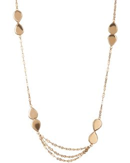 June Double Teardrop Station Necklace