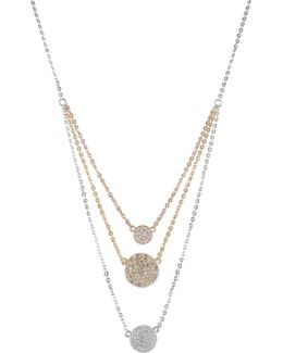 Tricolor Triple Layer Cz Disc Pendant Necklace