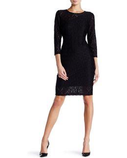 Geo Pattern Lace Sheath Dress