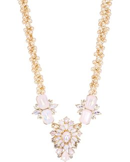 Large Embellished Flower Pendant Simulated Pearl Cluster Necklace