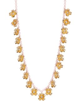 Tiny Flower Station Long Chain Necklace