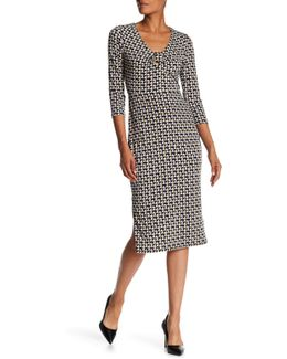 Printed Midi Sheath Dress