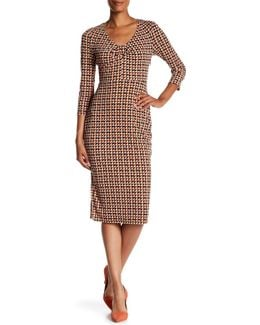 Printed Midi Sheath Dress