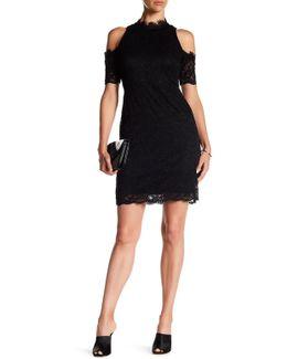 Cold Shoulder Stretch Lace Dress
