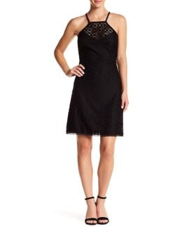 Halter A-line Stretch Lace Dress