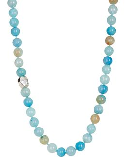 Multi Teal Agate Beaded Necklace