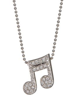 14k White Gold Little Big Rockstar Diamond Music Note Pendant Necklace - 0.3 Ctw
