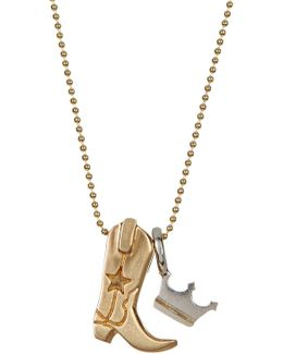 14k Yellow Gold & Sterling Silver Little Cities Boot Pendant Necklace
