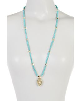 Turquoise Beaded Arrowhead Pendant Necklace
