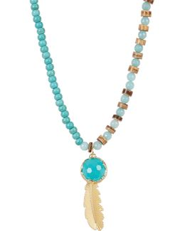 Beaded Turquoise Leaf Pendant Necklace