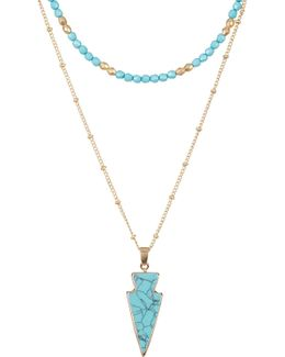 Turquoise Double Layer Arrowhead Pendant Choker