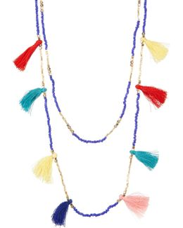 Double Layer Seed Bead & Tassel Necklace