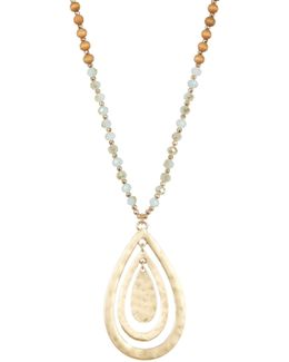Wood & Semi-precious Bead Teardrop Pendant Necklace