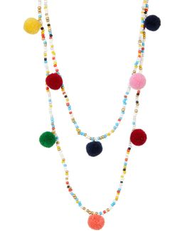 Double Layer Seed Bead & Pompom Necklace
