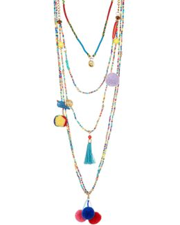 Multi Layer Seed Bead, Pompom, Tassel, & Bird Necklace
