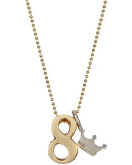 14k Yellow Gold & Sterling Silver Little Number '8' Pendant Necklace