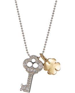 14k White Gold Little Luck Diamond Key Pendant Necklace