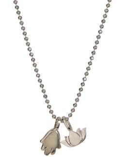 Sterling Silver Mini Hamsa Pendant Necklace