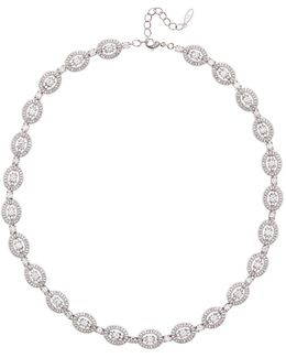 Cz Oval Link Chain Necklace