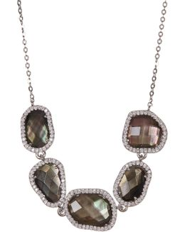 Black Mother Of Pearl & Cz Detail Frontal Necklace