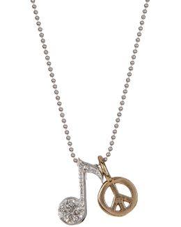 14k White Gold Little Rockstar Diamond Note Pendant Necklace