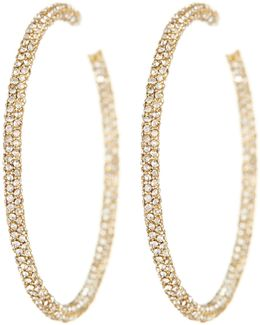 18k Gold Jumbo Micropave Crystal Hoop Earrings