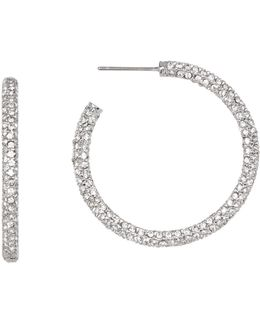 Medium Micropave Crystal Hoop Earrings