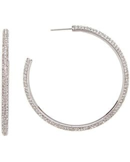 Large Bombe Pave Hoop Earrings