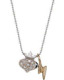 14k White Gold Little Rockstar Diamond Heart Pendant Necklace - 0.07 Ctw