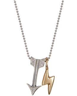 14k White Gold Little Signs Diamond Arrow Pendant Necklace - 0.03 Ctw
