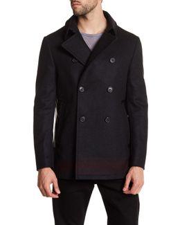 Engineered Stripe Wool Coat