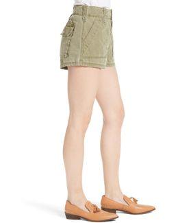 High Waist Military Shorts