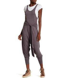 Open Back Knit Waist Tie Slouch Fit Jumpsuit