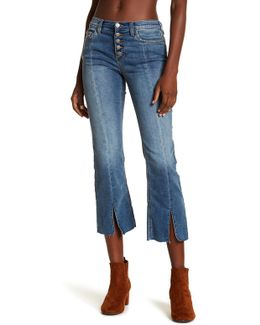 Cropped Front Button Straight Leg Jeans