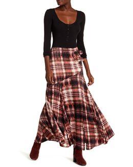 Front Belt Buckle Maxi Print Skirt