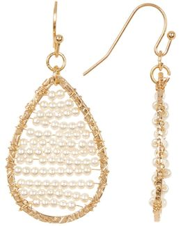 Imitation Seed Pearl Bead Teardrop Earrings