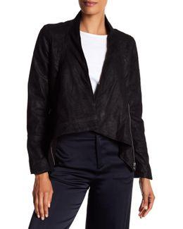 Cowl Neck Genuine Leather Jacket