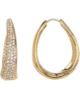 Pave Crystal Oval Hinge Hoop Earrings
