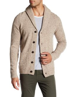 Wool Blend Faux Suede Patch Cardigan