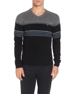 Engineered Stripe Lambswool V-neck Sweater